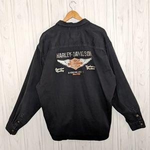 Harley Davidson Black Button Up Harley Emblem XXL